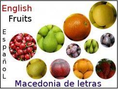 Frutas en inglés para una macedonia de letras.